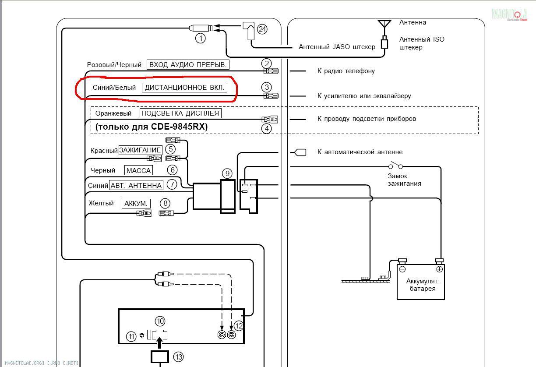 схема подключения уселителя в 2105