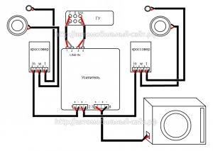 Схема подключения.4 канального усилителя