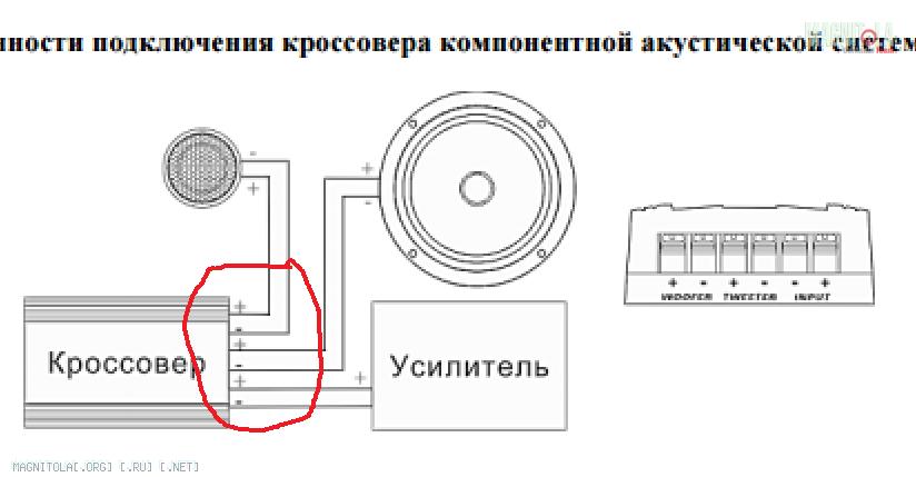 Подключение компонентной акустики к магнитоле схемы