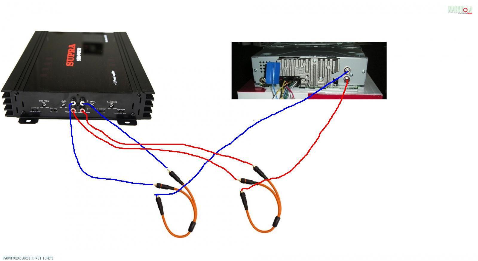 Схема подключения усилителя и сабвуфера к магнитоле
