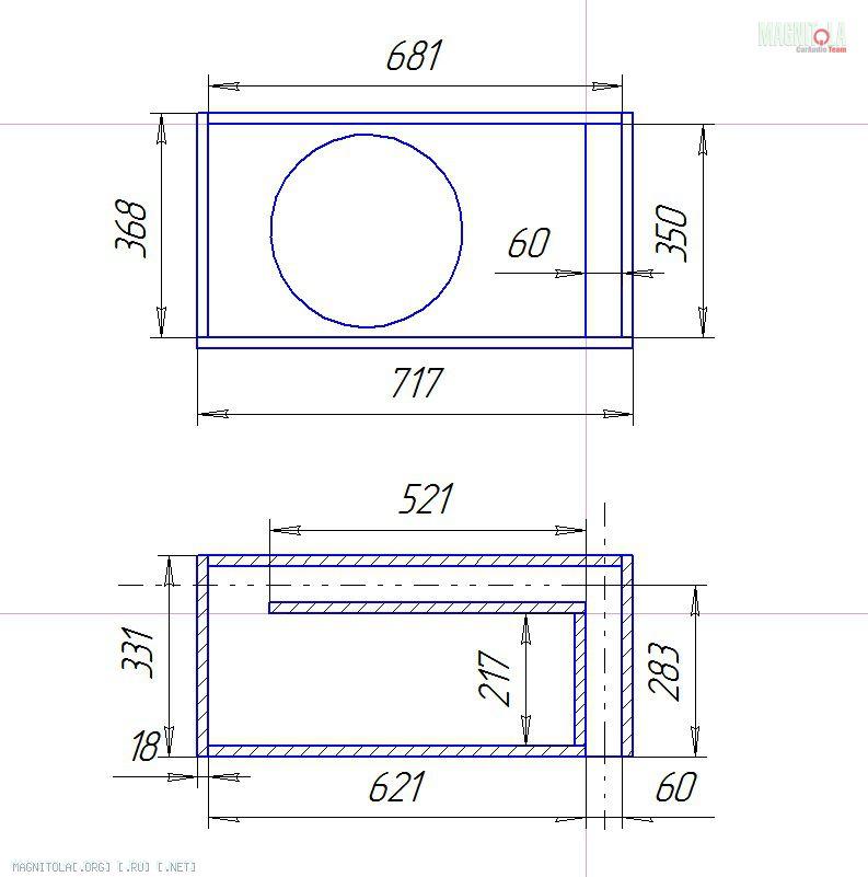 короб для сабвуфера 12 чертеж - Практическая схемотехника.