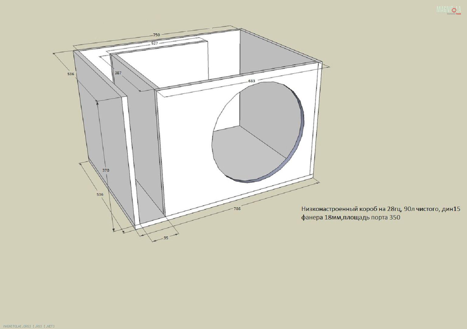 Схема короба под сабвуфер
