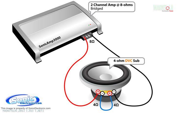 подключение сабвуфера к 2-х канальному усилителю схема