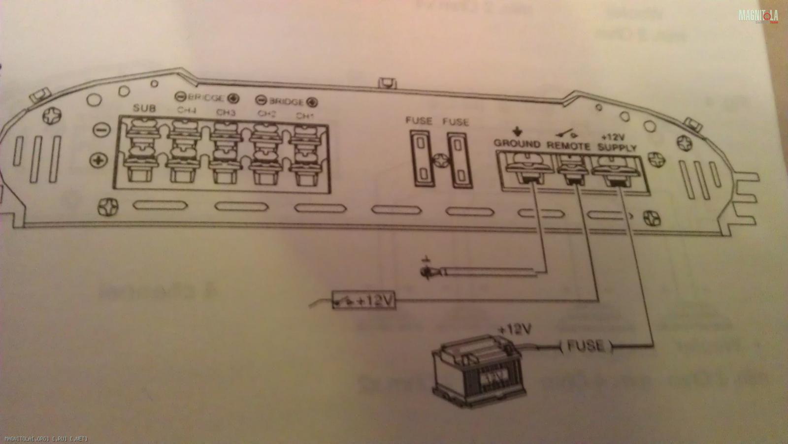 схема подключения 4 канального усилителя в 2 моста